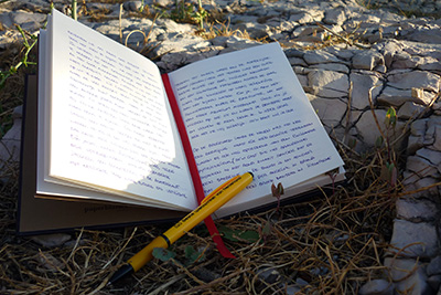 The travel notebook for Croatia in the Marjan park.